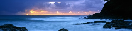 Silhouette of the sea at dusk, Point Danger, Coolangatta, Queensland, Australia