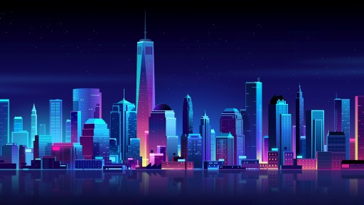 Retrowave City Skyline