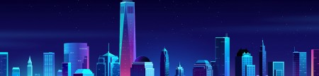 Retrowave City Skyline